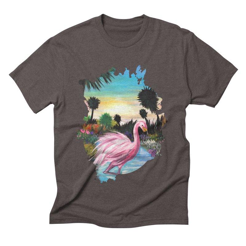 Flamingo Paradise Men's Triblend T-shirt by adamzworld's Artist Shop