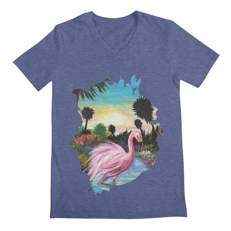 Flamingo Paradise Men's V-Neck by adamzworld's Artist Shop
