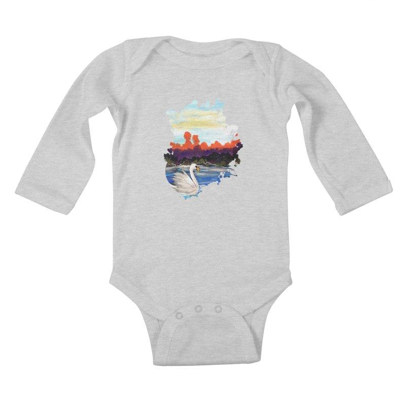 Swan Life Kids Baby Longsleeve Bodysuit by adamzworld's Artist Shop