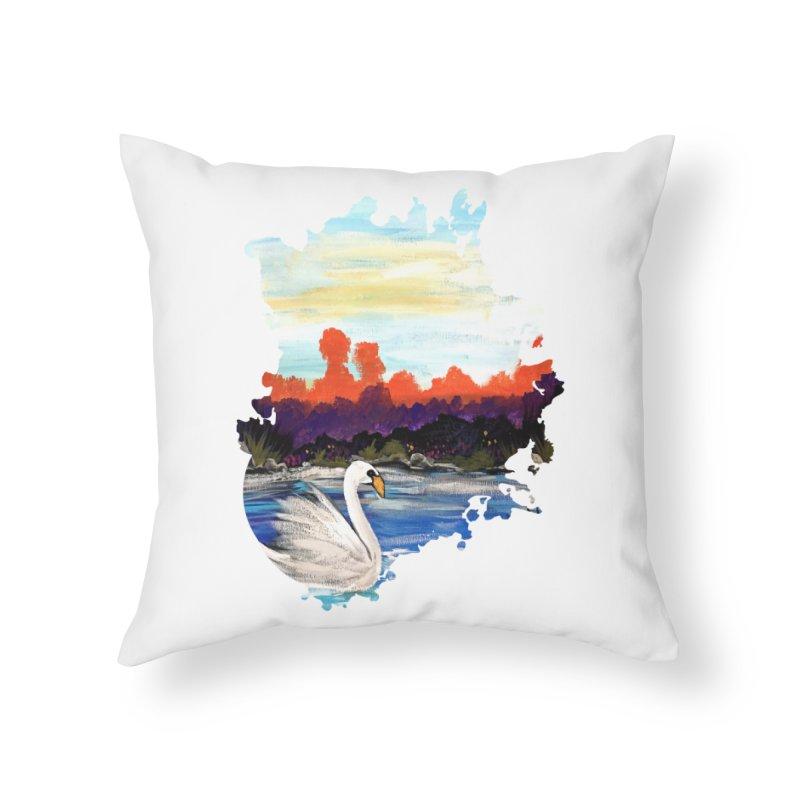 Swan Life Home Throw Pillow by adamzworld's Artist Shop