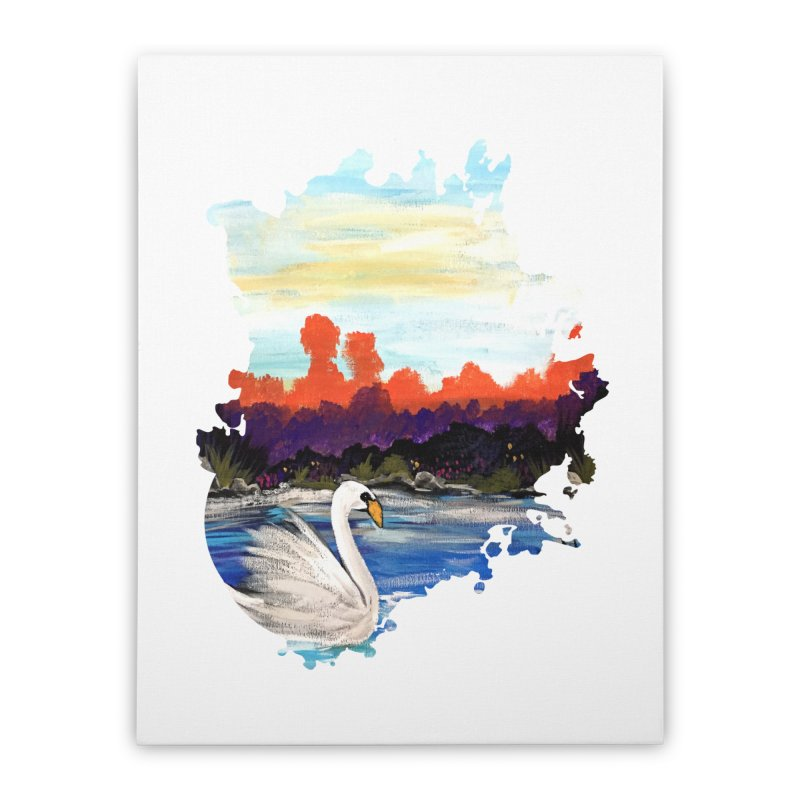 Swan Life Home Stretched Canvas by adamzworld's Artist Shop