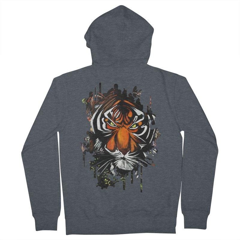 Tiger Stare Men's Zip-Up Hoody by adamzworld's Artist Shop