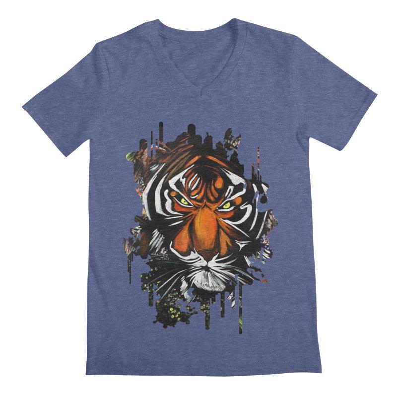 Tiger Stare Men's V-Neck by adamzworld's Artist Shop