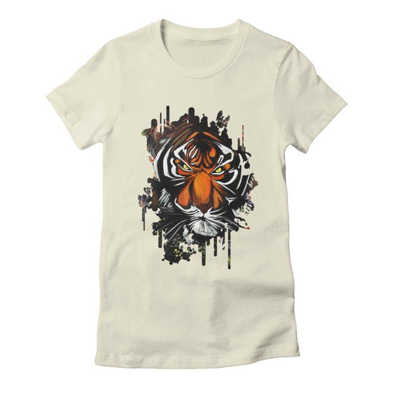 Tiger Stare Women's Fitted T-Shirt by adamzworld's Artist Shop