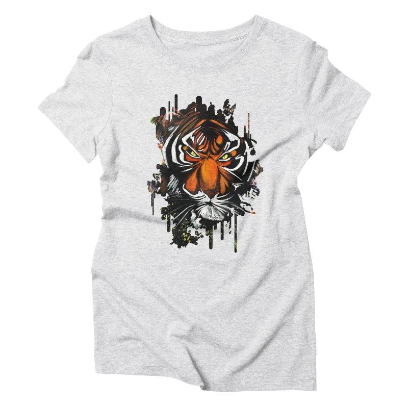 Tiger Stare Women's Triblend T-shirt by adamzworld's Artist Shop
