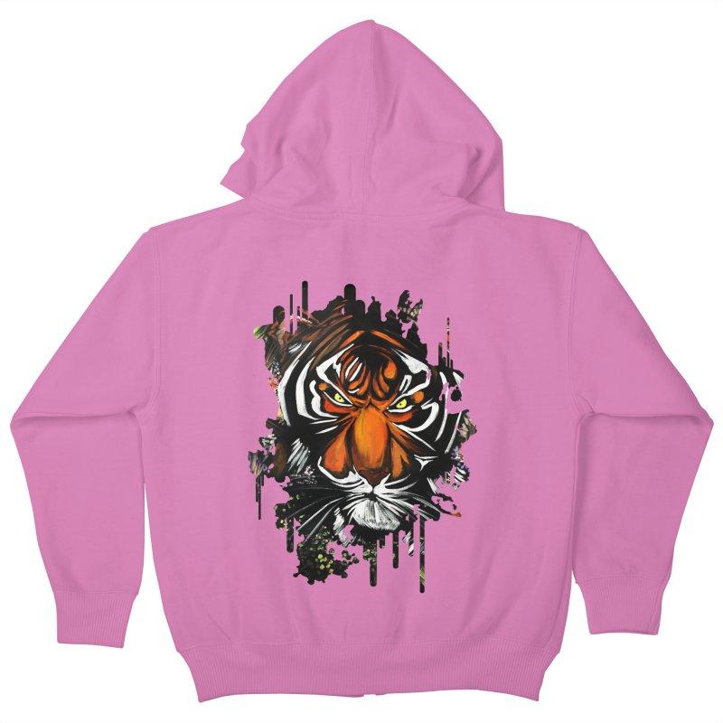 Tiger Stare Kids Zip-Up Hoody by adamzworld's Artist Shop