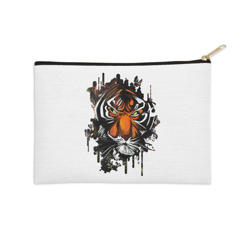 Tiger Stare Accessories Zip Pouch by adamzworld's Artist Shop