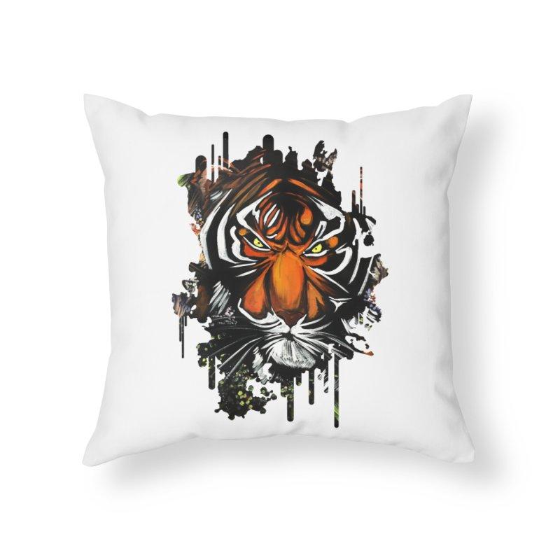 Tiger Stare Home Throw Pillow by adamzworld's Artist Shop