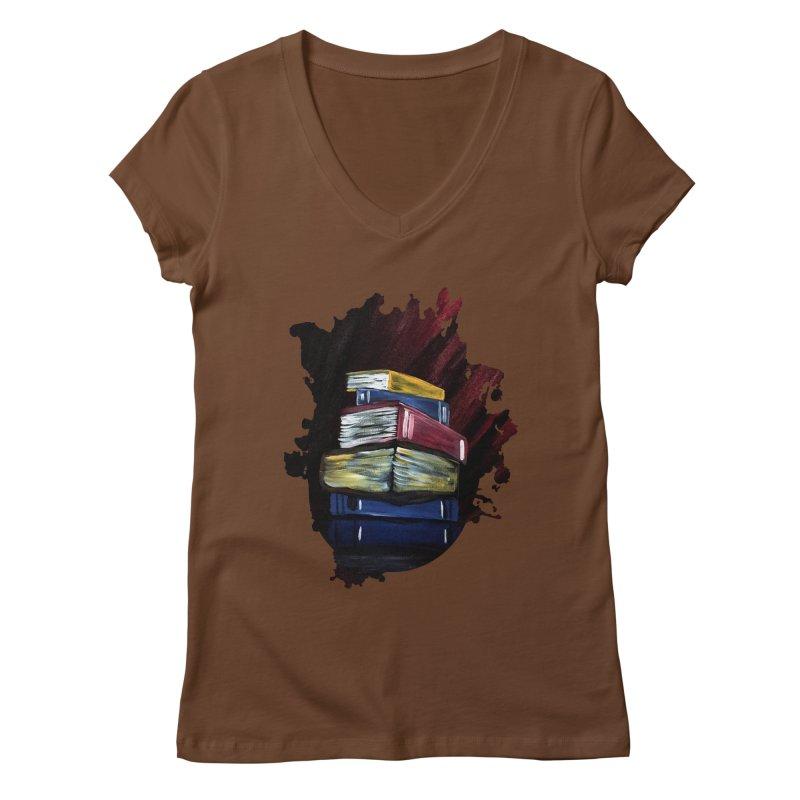 Books Of Knowledge Women's V-Neck by adamzworld's Artist Shop