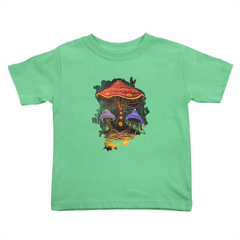 A Mushroom World Kids Toddler T-Shirt by adamzworld's Artist Shop