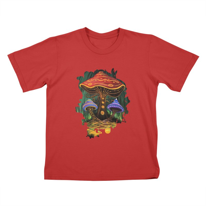 A Mushroom World Kids T-Shirt by adamzworld's Artist Shop