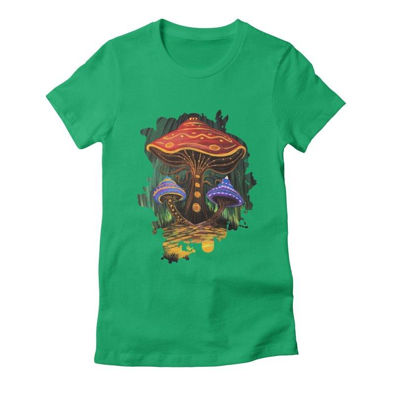 A Mushroom World Women's Fitted T-Shirt by adamzworld's Artist Shop