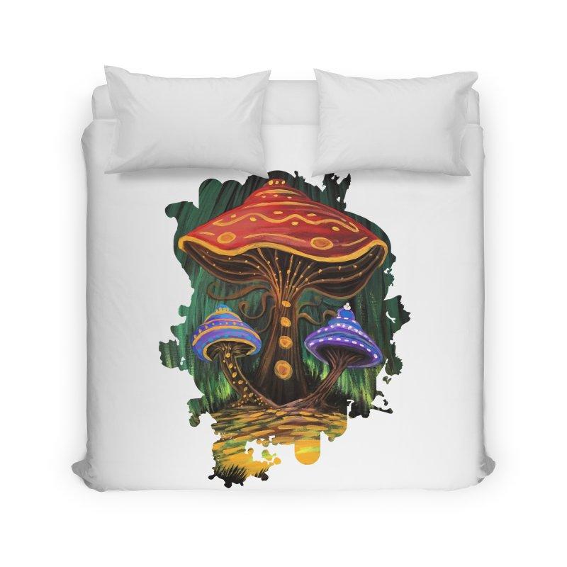 A Mushroom World Home Duvet by adamzworld's Artist Shop