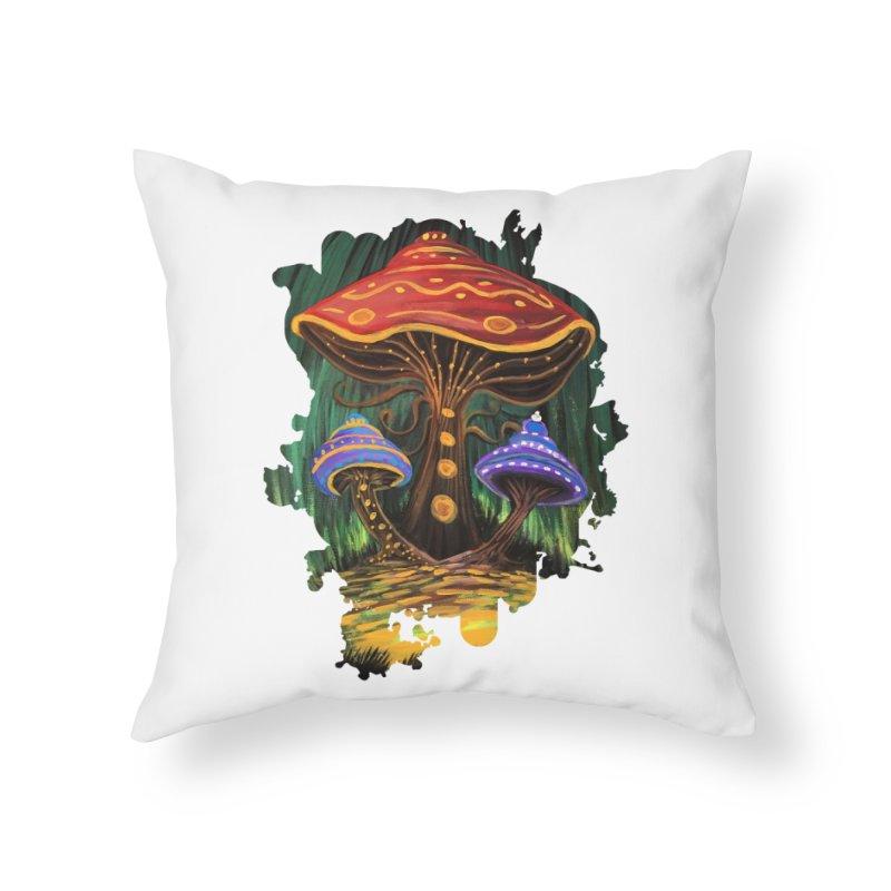 A Mushroom World Home Throw Pillow by adamzworld's Artist Shop