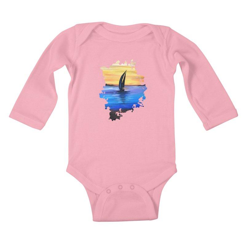Sail Away Kids Baby Longsleeve Bodysuit by adamzworld's Artist Shop