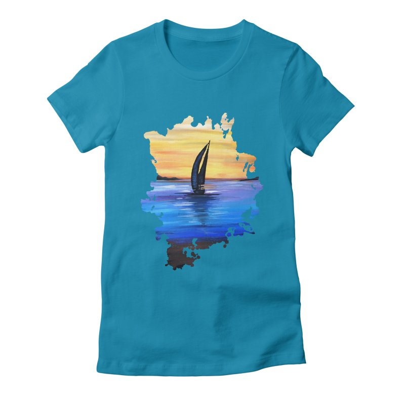 Sail Away Women's Fitted T-Shirt by adamzworld's Artist Shop