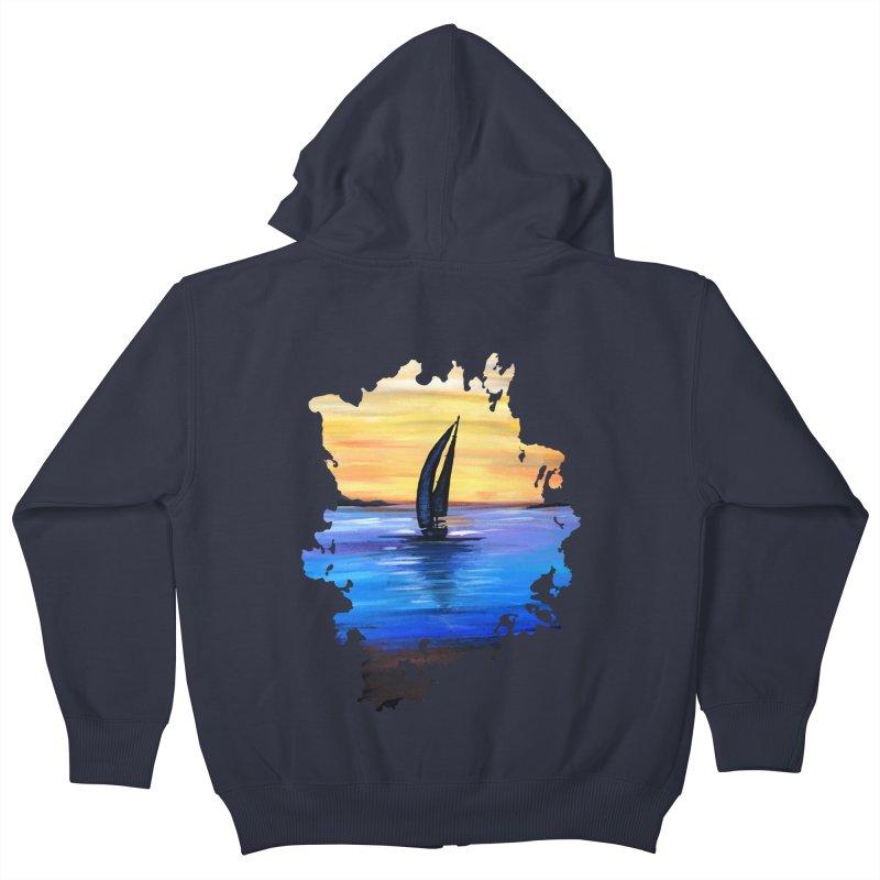 Sail Away Kids Zip-Up Hoody by adamzworld's Artist Shop