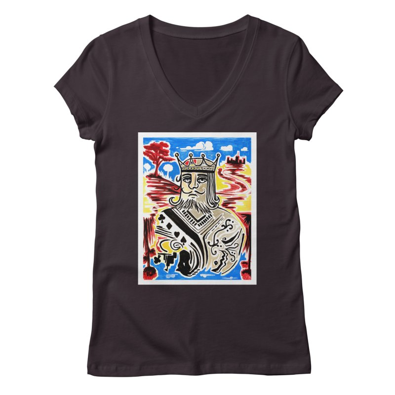 King Of Cards Women's V-Neck by adamzworld's Artist Shop