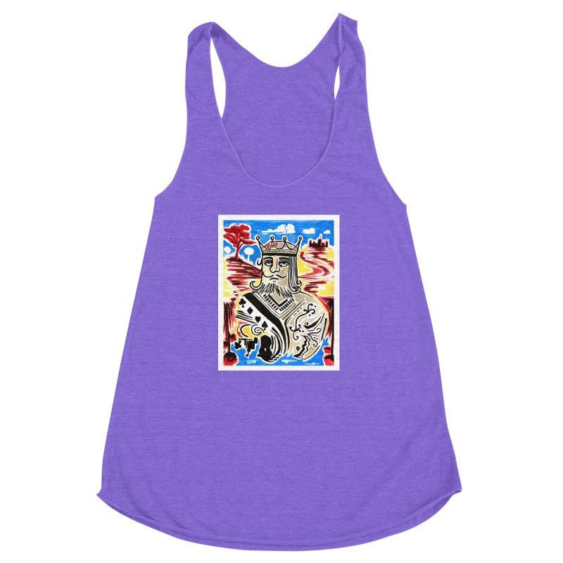 King Of Cards Women's Racerback Triblend Tank by adamzworld's Artist Shop