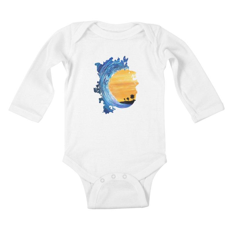Tidal Wave Kids Baby Longsleeve Bodysuit by adamzworld's Artist Shop