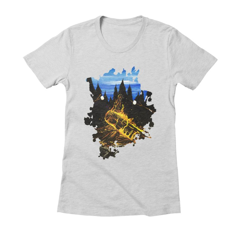 Camp Fire Women's Fitted T-Shirt by adamzworld's Artist Shop