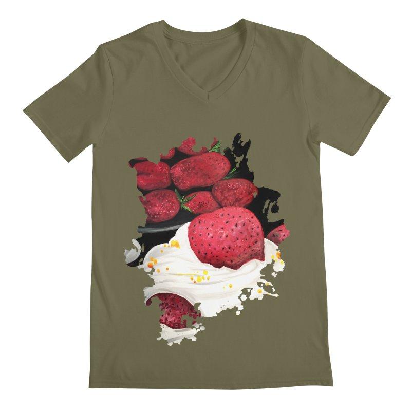 Strawberry Dream Men's V-Neck by adamzworld's Artist Shop
