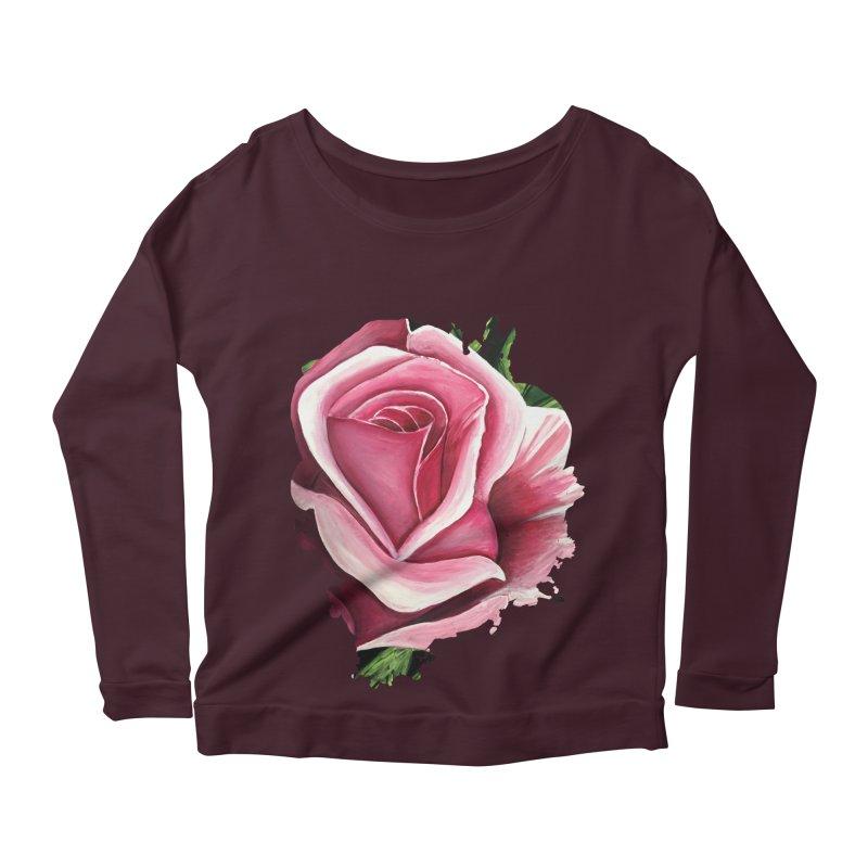 Pink Rose Women's Longsleeve Scoopneck  by adamzworld's Artist Shop