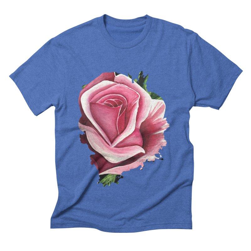 Pink Rose Men's Triblend T-Shirt by adamzworld's Artist Shop