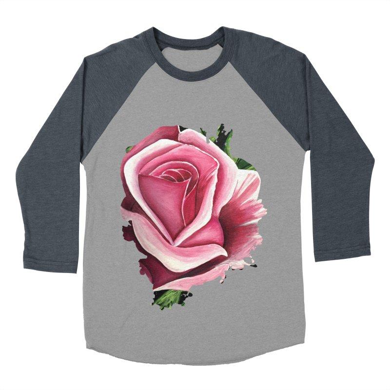 Pink Rose Women's Baseball Triblend T-Shirt by adamzworld's Artist Shop