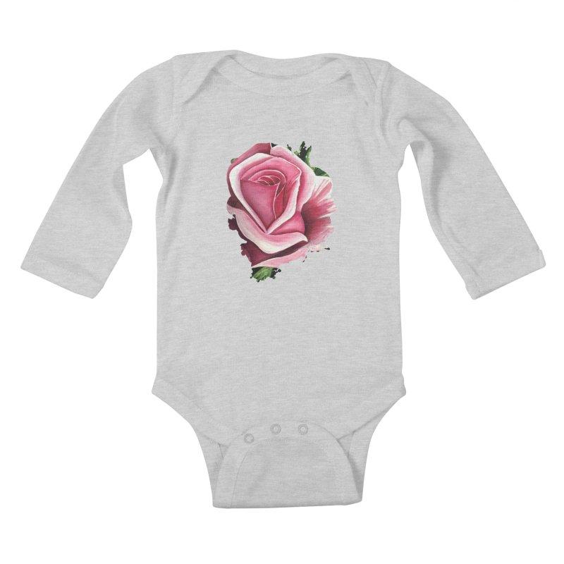 Pink Rose Kids Baby Longsleeve Bodysuit by adamzworld's Artist Shop