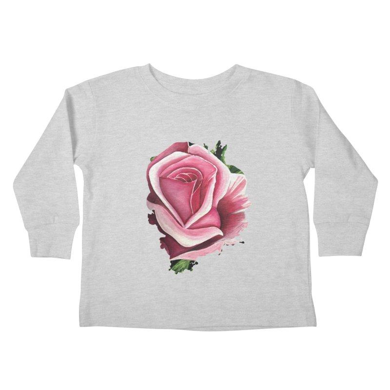Pink Rose Kids Toddler Longsleeve T-Shirt by adamzworld's Artist Shop