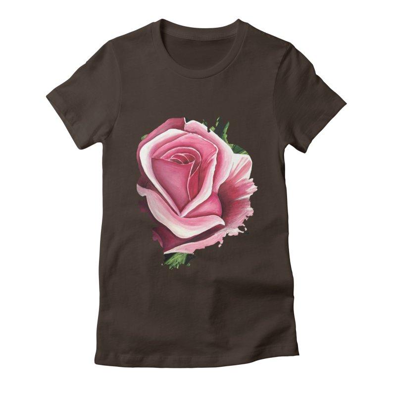 Pink Rose Women's Fitted T-Shirt by adamzworld's Artist Shop