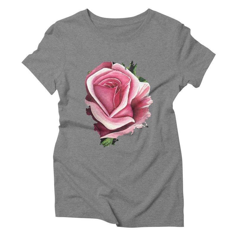 Pink Rose Women's Triblend T-Shirt by adamzworld's Artist Shop