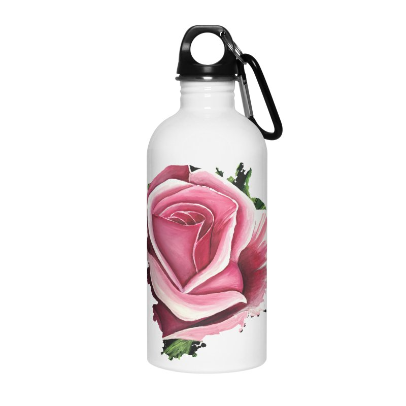 Pink Rose Accessories Water Bottle by adamzworld's Artist Shop