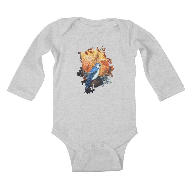 Blue Jay Life Kids Baby Longsleeve Bodysuit by adamzworld's Artist Shop
