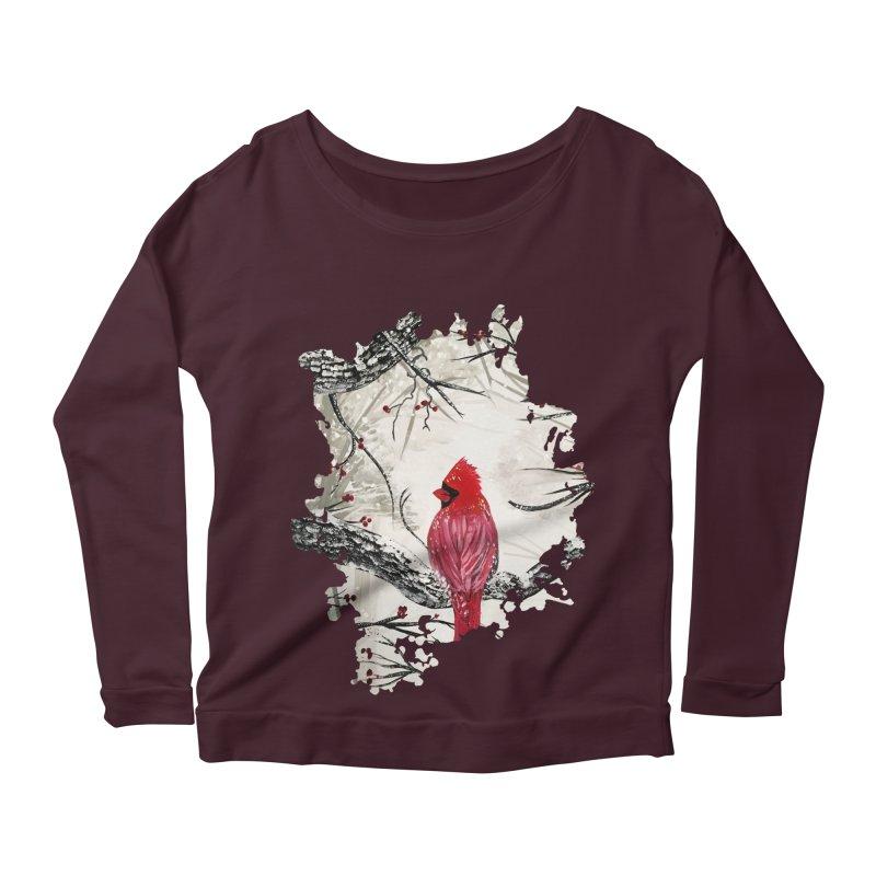 Red Robins Winter Women's Longsleeve Scoopneck  by adamzworld's Artist Shop