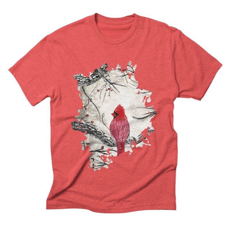 Red Robins Winter Men's Triblend T-Shirt by adamzworld's Artist Shop