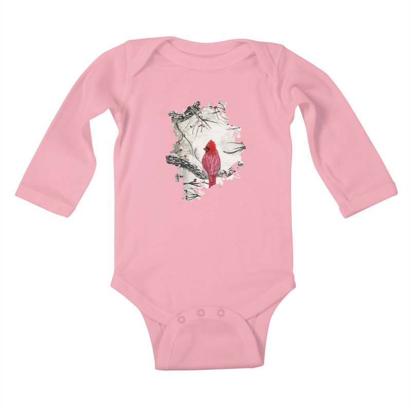 Red Robins Winter Kids Baby Longsleeve Bodysuit by adamzworld's Artist Shop