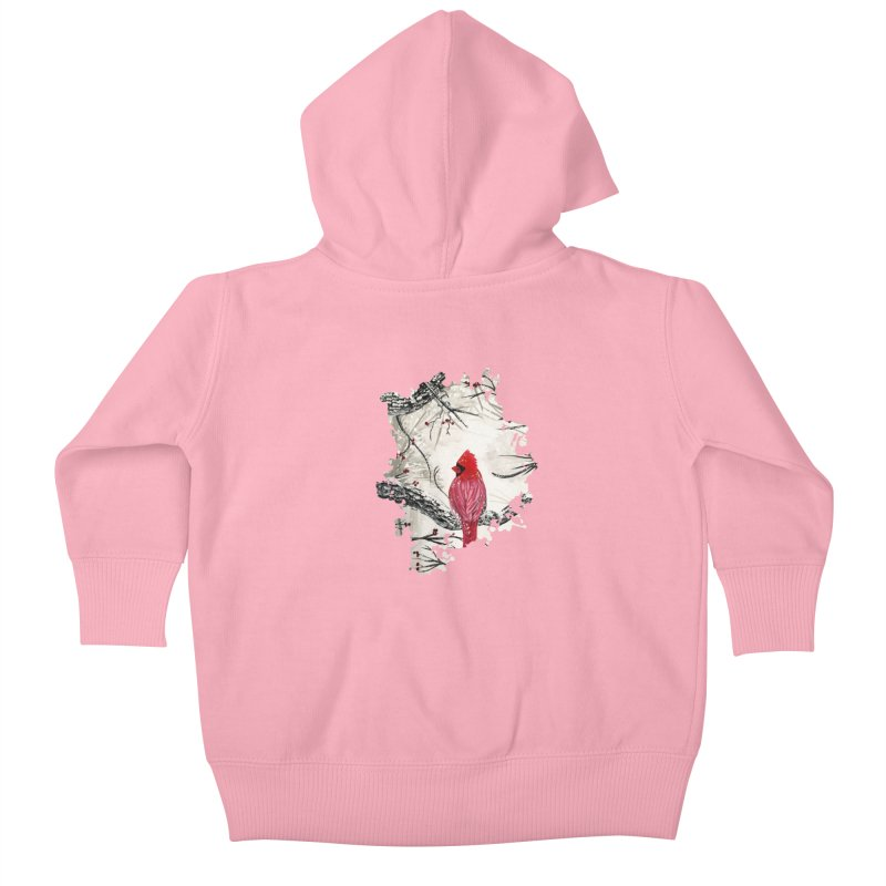 Red Robins Winter Kids Baby Zip-Up Hoody by adamzworld's Artist Shop