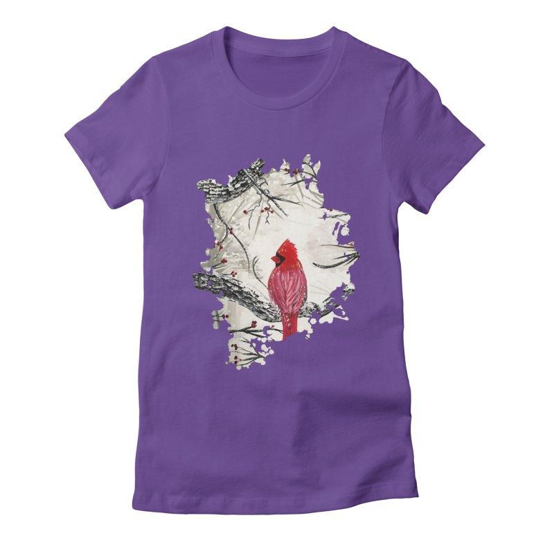 Red Robins Winter Women's Fitted T-Shirt by adamzworld's Artist Shop