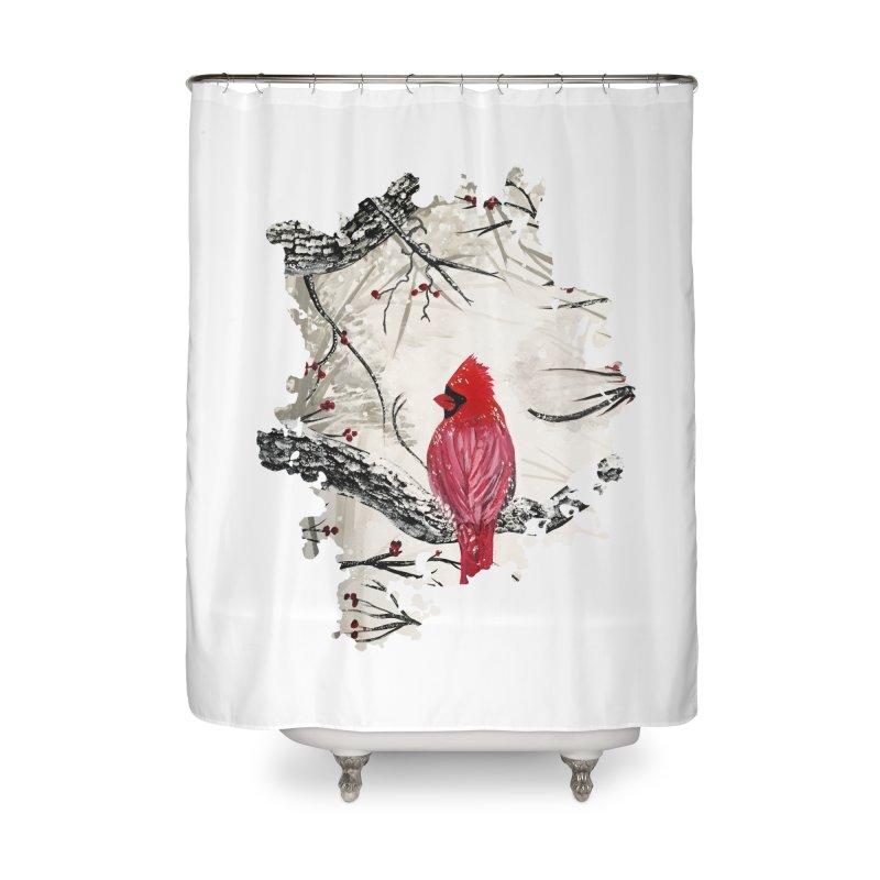 Red Robins Winter Home Shower Curtain by adamzworld's Artist Shop