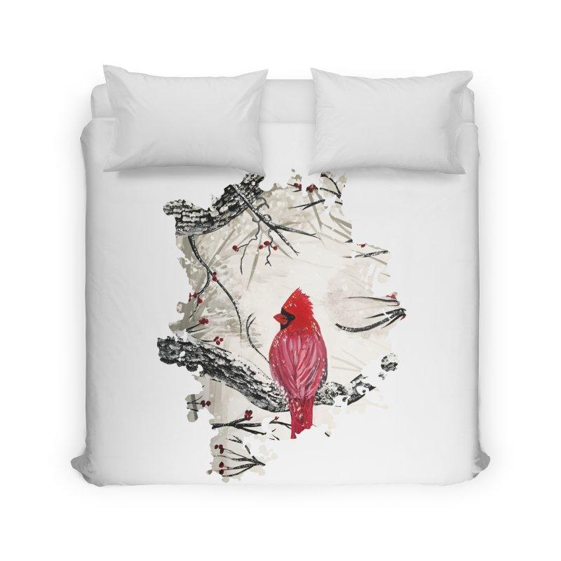 Red Robins Winter Home Duvet by adamzworld's Artist Shop
