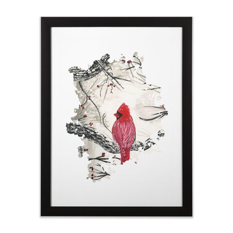 Red Robins Winter Home Framed Fine Art Print by adamzworld's Artist Shop