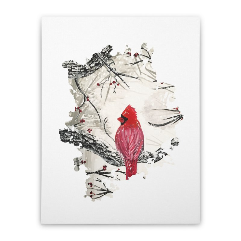 Red Robins Winter Home Stretched Canvas by adamzworld's Artist Shop