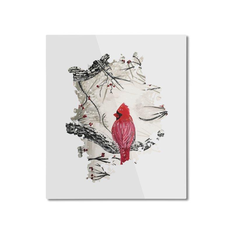 Red Robins Winter Home Mounted Aluminum Print by adamzworld's Artist Shop