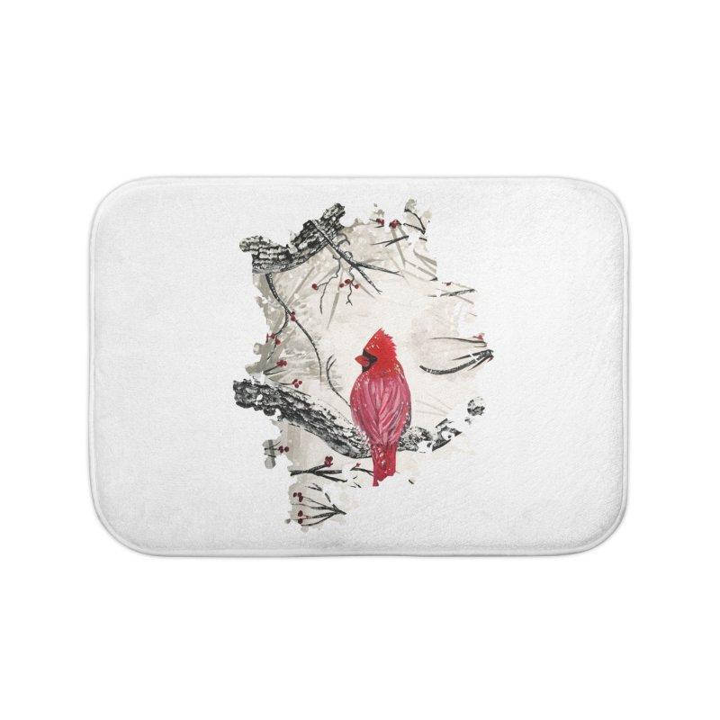 Red Robins Winter Home Bath Mat by adamzworld's Artist Shop