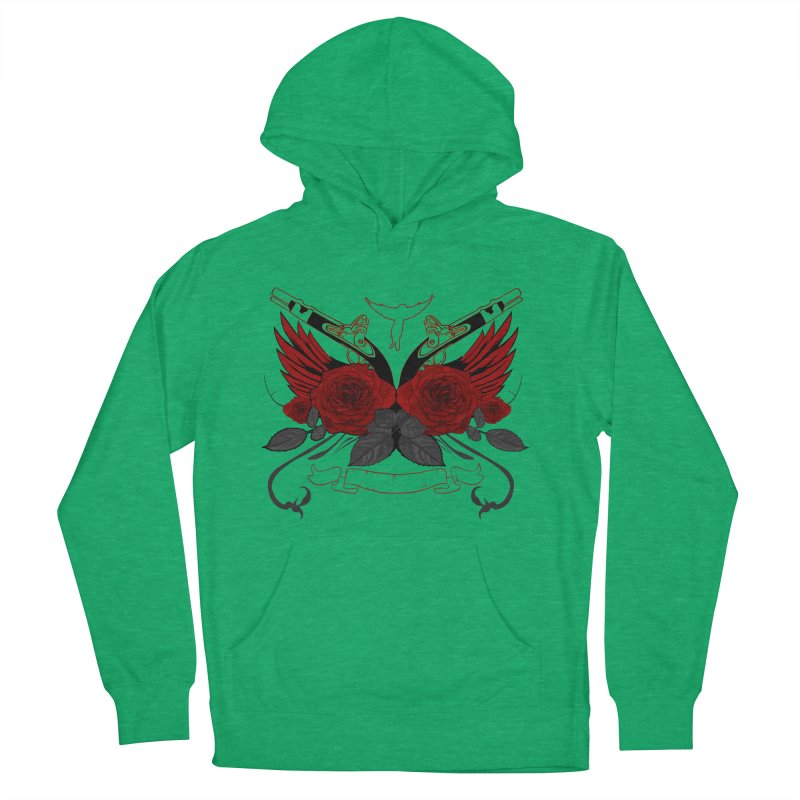 Guns and Roses RED Men's Pullover Hoody by adamzworld's Artist Shop