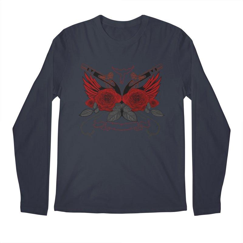 Guns and Roses RED Men's Longsleeve T-Shirt by adamzworld's Artist Shop