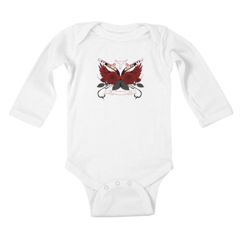 Guns and Roses RED Kids Baby Longsleeve Bodysuit by adamzworld's Artist Shop