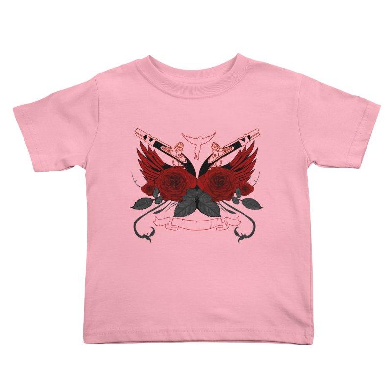 Guns and Roses RED Kids Toddler T-Shirt by adamzworld's Artist Shop